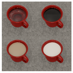 Examples of the mugs rendered in this experiment